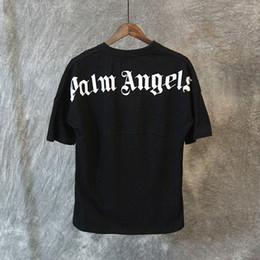 Wholesale Oversized Men Shirt - Palm Angels T shirt White Black Letters Print Summer Tees Men Women Oversized Tee Shirt Hip Hop Street Tops LXG1203