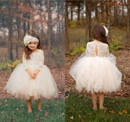 Wholesale Tea Length Baby Pageant Dresses - Princess Ball Gown Boho Country Wedding Flower Girl Dresses Sheer Long Sleeve Skirts Tea Length Cheap Baby Kids Pageant Communion Dresses