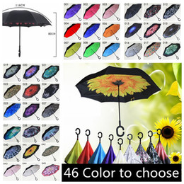 Wholesale Rainy Umbrella - Outdoor Inverted Umbrella Windproof Inside Out Double Layer Nylon Fabric C-Hook Hands Sun Rain Folding Reverse Umbrellas YM001-YM046