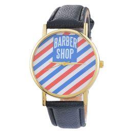 Wholesale Wholesale Watch Shop - Fashion Women Men BARBER SHOP Dial Quartz Analog Leather Wrist Watch Colour:Black