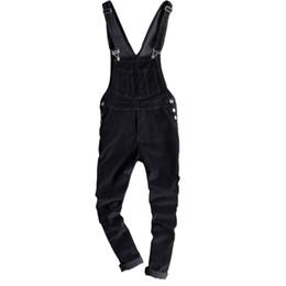 Pantalones de hombre de estilo de japón online-Pantalones de pana Slim Fit para hombre para primavera Hombres Monos de pana negros ajustados Monos de moda Estilo de Japón tirantes monos 122901
