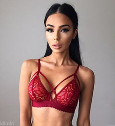 Wholesale Lace Triangle Bralette - 1 PC Fashion Bra Sexy Women Lingerie Floral Sheer Lace Triangle Bralette Underwear Bra Crop Top Sleep Dress 4 Sizes