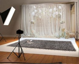 Wholesale Indoor Vinyl Backdrop - Laeacco Chic Indoor Curtain Background Floral Tree Tassel Scene Photography Backdrops Vinyl Custom Backgrounds For Photo Studio
