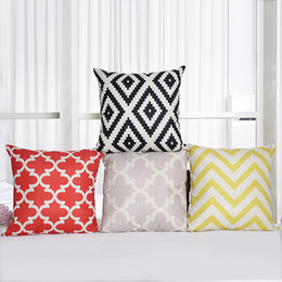 Wholesale Free Cushion Cover Patterns - Vintage grey geometric pattern decorative pillow cover cushion cover pillowcase decor home pillow cases free shipping