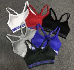 Wholesale adjustable sports bra - Adjustable Love PINK Sports Bra Women's PINK Letter Push-up GYM Yoga Track Bras Breathable Casual Every Day Underwear Jogging Short Tees new