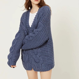 65f9144c24  EWQ  New Autumn 2018 Fashion scarf collar Long-sleeved twist thick needle  hand-knitted loose cardigan women tide QE256