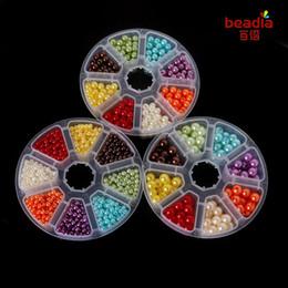 remendos de animais bordados por atacado Desconto ABS Acrílico pérola beads 4/6/8 mm 8 cores caixa mista pacote DIY acessórios Scrapbooking