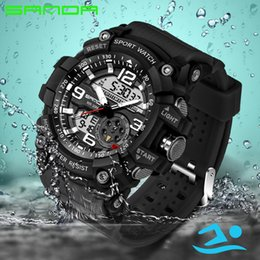 Wholesale Luminous Watches For Men - SANDA Army Military Casual Fashion Watch Men Waterproof Sport Digital Watch for Mens Watches Top Brand Luxury Clock Watch