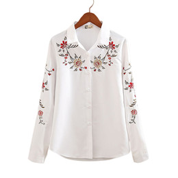 Wholesale Women Blouse Squares - Wholesale- Autumn White and Striped Embroidered Female Casual Shirts Flower Pattern Long sleeves Square Collar Women Blouses Ladies Tops