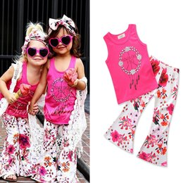 Wholesale Rose Bell - kids girls clothing sets rose red tanks +bell-bottomed pants flowers printed pure cotton 80-90-100-110-120