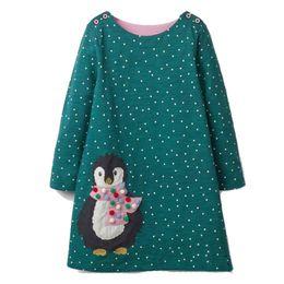 Baby Girls Vestido de Otoño Unicornio Cebra Aves Vestido de Navidad Princesa Animal Apliques Niños 100% Algodón Vestidos Niños Ropa de Primavera desde fabricantes