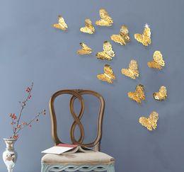 pegatinas de mariposa de oro Rebajas 3D hueco mariposa pegatinas de pared de plata oro pegatinas de pared para las etiquetas engomadas del refrigerador Home Party Wedding Decor