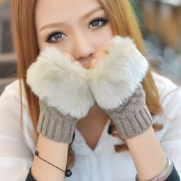 Wholesale Colorful Cotton Gloves - Women Girl Knitted Faux Rabbit Fur gloves Mittens Winter Arm Length Warmer outdoor Fingerless Gloves colorful XMAS gifts