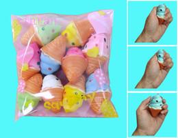 Wholesale keychain kawaii - New 10pcs Color Cone Soft Kawaii Squishy Mini Ice Cream Keychain Charm Strap New