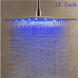 Wholesale 12 Rain Shower Head - 12 inch Stainless Steel Brushed Shower Head LED Changing Color Rain Top Sprayer