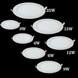 Luz de panel LED regulable Luz de techo empotrada de techo ultradelgada 3w 4w 6w 9w 12w 15w 25w Foco LED redondo AC85-265V desde fabricantes