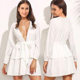Wholesale Ruffle Tops Blouses - 2018 Women's Dress Fashion chiffon long-sleeved dress stitching strap sexy deep V dress Casual Loose white Blouses tops mini skirt
