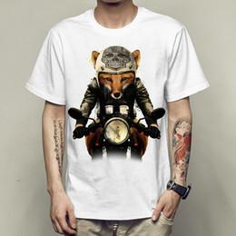 Wholesale Helmet Punk - Fox biker t shirt Punk rider short sleeve gown Skull helmet tees Unisex clothing Quality modal Tshirt
