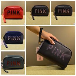 Wholesale Classic Cosmetics - Pink sequins Makeup Bag Classic Love Pink Cosmetic Bags Handbag Portable Storage Bag 19*7*12.5cm Travel Storage Cosmetic Bag KKA4173