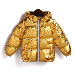 d8b582944 Kids Bread Thick hooded jacket 2018 winter Down coat baby Boys gold silver  Outwear children Clothing MMA691 3pcs