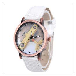 Outad Worldwide Store Women Men Aircraft Pattern Denim Fabric Band Round Dial Quartz Wrist Watches Relogio Watches