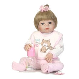 Wholesale Houses Inflatables - Wholesale- girl Doll Reborn blue eyes For Sale Soft Toys full Silicone Reborn Babies Girls 55cm Play House Toys Lifelike Doll Newborn Baby