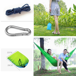 Wholesale travel cots - 36 Colors 230*9cm Nylon Single Person Hammock Parachute Fabric Hammock Travel Hiking Backpacking Camping Hammock Swing Outddoor Bed AAA501