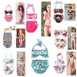 Wholesale Toddlers Bikinis - kids girls Swimwear Flower printed Toddler Baby summer beachwear Swimsuit Bikini Tankini Swimwear Beachwear Bikini Set KKA4289