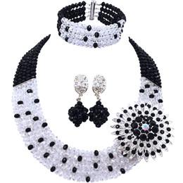 Argentina Bastante cristal transparente negro hechos a mano conjuntos de joyas para mujeres compromiso 5C-SZ-08 Suministro