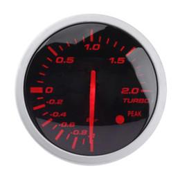 medidores de luz roja Rebajas VODOOL Universal Racing Car Turbo Boost Gauge 60mm 2.5in Blanco + Medidor de luz roja Racing Gauge con sensor