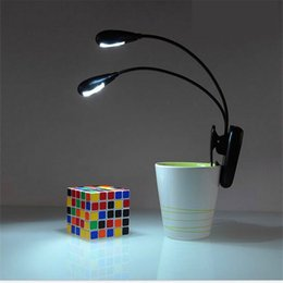 Wholesale Music Stand Led Lights - Black Clip on 2 Dual Arms 2LED Flexible Reading lamp Book Light Music Stand ebook Night light Clip-On Super bright LED camping lamp