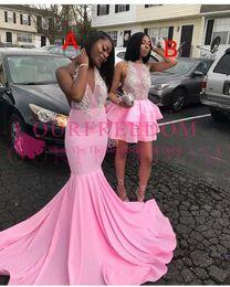 Wholesale Modern Maxi Dresses - 2018 New Modest Maxi Style Prom Dresses V Neck Mermaid White Appliques Hot Sale Formal Evening Dresses For 2k 17 18