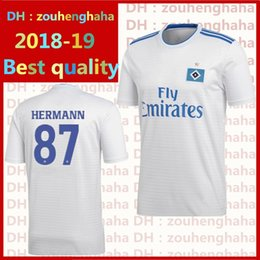 Wholesale hamburger man - Hamburger SV soccer jersey 2018 2019 home white hsv Lewis Holtby Filip Kostic Aaron Hunt Bobby Wood football shirts