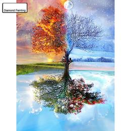 pintura diamante árbol Rebajas Completo DIY 5D Diamante Pintura Estaciones Árbol Bordado de punto de Cruz Patrones de diamantes de imitación Diamante Mosaico bk