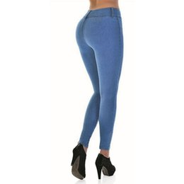 Wholesale Plus Size High Waisted Pants - Women High Waist Jeans Sexy Package Hips Elastic Pencil Skinny Jeans Plus Size High Waisted Denim Femme Pants 2017 ZIH124