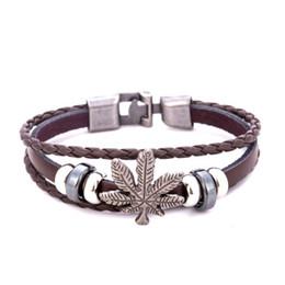 Кожаный браслет клена онлайн-Европейские и американские ретро мужские кожаные браслеты для женщин Fresh Maple Leaf Браслет для женщин заявление ювелирные изделия Подарок Мода Оптовая 2018