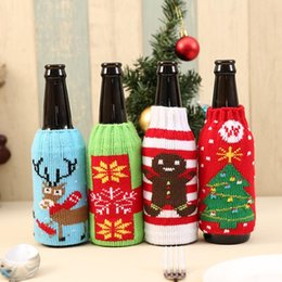 Wholesale cloth table covers for parties - Colorful Fashion Cloth Wine Bottle Cover Bags 4 Styles Sweater Christmas Table Decoration Santa Claus Xmas Supplies for Home Party