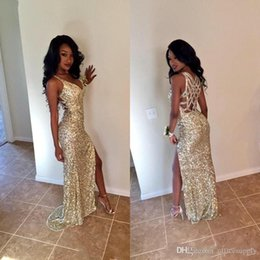 Wholesale High Halter - 2018 Gold Sequins Long Prom Dresses Sexy Thigh High Slits Magnetic Halter Vestidos De Fiesta Hollow Back Mermaid Prom Gowns