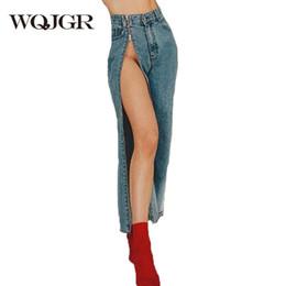98849c00628 WQJGR Fashion Jeans Women Sexy Split Zipper Vintage High Waist Wide Leg  Denim Pants Female Loose Trousers Capris
