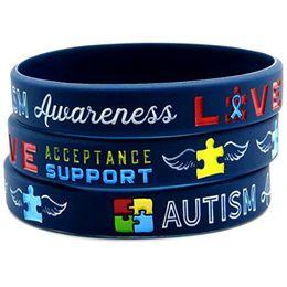 alarm armbänder Rabatt 100pcs Autismus-Bewusstsein medizinische Warnung Gummi-Silikon-Sport-Armband-Mann-Armband freies Verschiffen durch ePacket