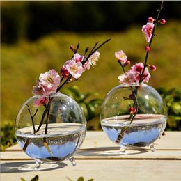Wholesale tables accessories - Clear Ball Glass Vase Bottle Terrarium Containers DIY Table Flowers Vase Transparent Wedding Garden Decor Accessories