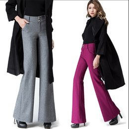 wool trousers women Promo Codes - European Style Wide Leg Pants Straight  Trousers Loose Fashion Office 1814f84963d1