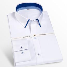 7914e08744 Camisas de vestido de contraste interno duplo colarinho masculino  confortável 100% algodão manga longa inteligente Casual regular camisa de  botão-down botão ...