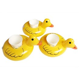 Wholesale Mini Pool Balls - Pool Float Inflatable yellow duck floats baby swimming Toys plastic duck drink floats Inflatable Mini yellow cup holder