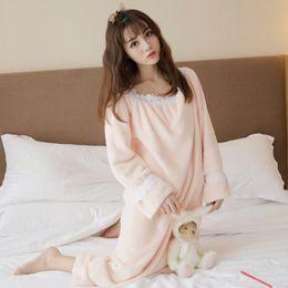ae60eeef2d 2017 Autumn Winter Flannel Princess Nightgowns Women Casual Homewear Warm  Soft Comfortable Sleep Dresses Ruffles Sleepwear Sleepshirts