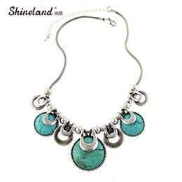 Wholesale Chunky Snake Chain Necklace - whole saleChoker Necklace For Women 2017 New Fashion Ethnic Vintage Accessories Natural Stones Chunky Chains Statement Necklace Jewelry