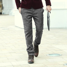 ad6655f24c3 Wholesale-High Quality New Mens Winter Autumn office pants Men casual plaid  woolen dress skinny Suit Pants Male Business Formal trousers