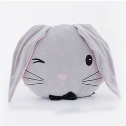 Wholesale plush couple doll - Stuffed Toys Gray Rabbit Head Plush Pillows Cute Cartoon Couple Rabbit Doll Super Soft Cushions Kid Toys Girlfriend Gifts