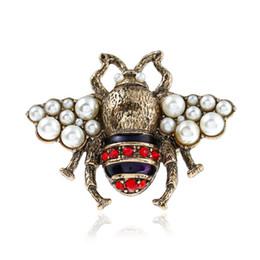 Schöne ringe für mädchen online-OL Mode Frauen Schmuck Vergoldet Strass Perle Biene Ring für Mädchen Frauen für Party Ring Schönes Geschenk