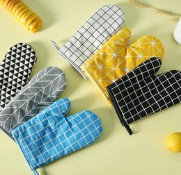 Wholesale Silicone Heat Insulation Glove - Microwave Oven Gloves Heat Insulation Cotton Linen Baking Gloves Mitts Non-Slip Kitchen BBQ Cooking Gloves Bakeware Cake Tool